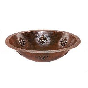 Oval Fleur De Lis Undermount Hammered Copper Sink in Oil Rubbed Bronze