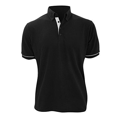 Kustom Kit Mens Button Down Contrast Short Sleeve Polo Shirt (L) (Kustom Kit)