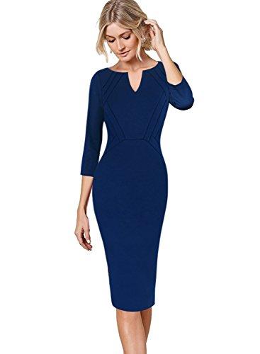 Wiggle Sheath (VFSHOW Womens Elegant Notch V Neck Wear to Work Office Formal Sheath Dress 10005 Blu M)