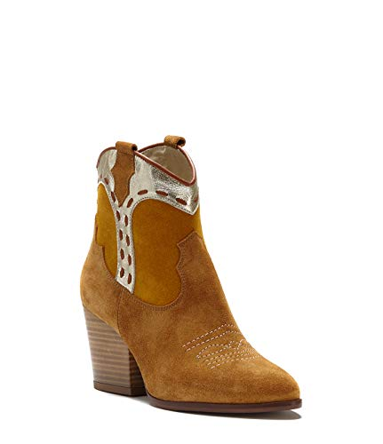 PoiLei Sarah Block Cowboy Heel Boots Taupe Schuhe Damen Leather Taupe Ankle Smooth nrWfCZr