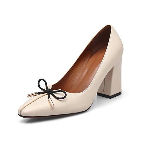 ZHZNVX Zapatos de Mujer Vacuno Caída Comfort/Basic Pump Tacones Chunky Heel Black/Almond Almond