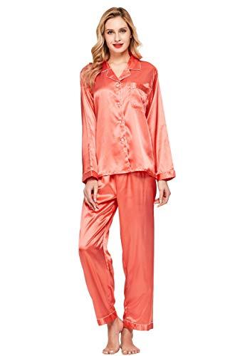 Womens Satin Silk Pajamas Top - Tony & Candice Women's Classic Satin Pajama Set Sleepwear Loungewear (Living Coral, Medium)