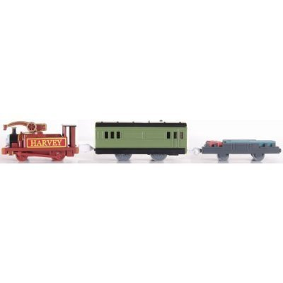 (Trackmaster Railway System - Thomas and Friends Motorized Road and Rail Battery Powered Tank Engine : Harvey with 1 Green Coaches and 1 Freight Wagon)