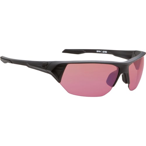 Spy Alpha Sunglasses - Spy Optic Scoop Series Sports Eyewear - Matte Black/Rose with Blue Mirror / One Size Fits All