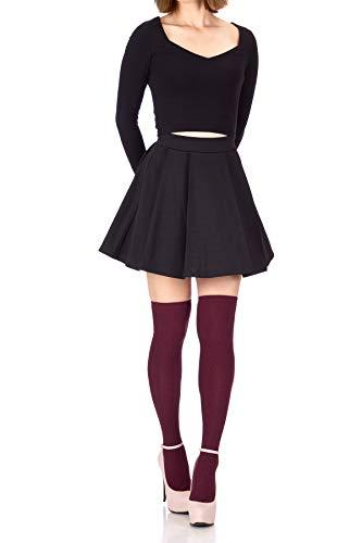 Sweet Elastic Waist School Uniform Cheerleader Tennis Pleated Mini Skirt School Uniform Cheerleader Tennis (L, Black)