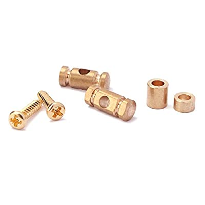 PIXNOR Guitar String Guides Retainer with Spacers Screws Set (Gold)