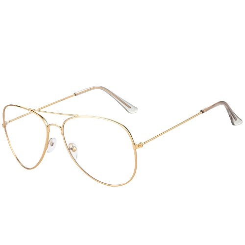 SIPU Clear Lens Aviator Glasses for Fashion Classic Metal Frame Eyeglasses 63mm (Gold, - Aviator Fashion