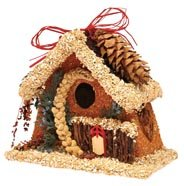Birdies B & B Chalet, Birdhouse with Seed and Feed on Exterior (Roof Chalet)