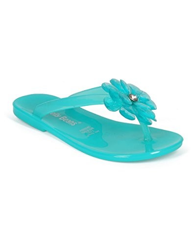 JELLYBEANS Jelly Flower Gem Slip On Thong Sandal  CE84 - Sea