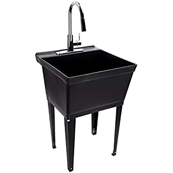 black utility sink laundry tub with high arc chrome kitchen faucet by maya pull down sprayer. Black Bedroom Furniture Sets. Home Design Ideas