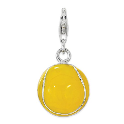 925 Sterling Silver Enamel Tennis Ball Lobster Clasp Pendant Charm Necklace Sport Fine Jewelry For Women Gift ()