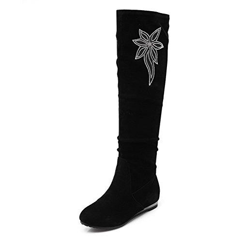 AllhqFashion Damen Hoch-Spitze Ziehen auf Wedges Rund Zehe Stiefel mit Beschlagene Strass Schwarz