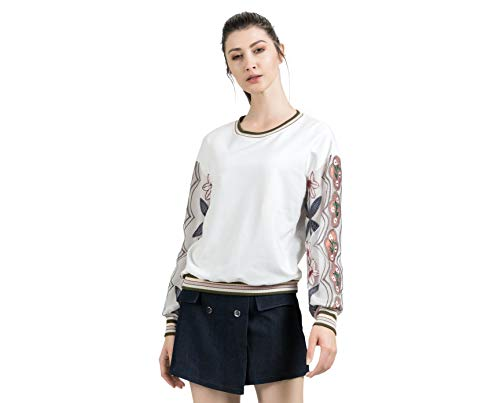 Women's Cotton Sweatshirt Loose Long Sleeve Tops Mesh Embroidery Casual Pullover Shirt (White, Large)