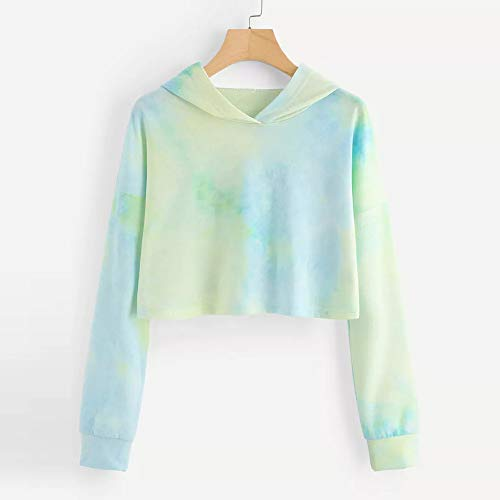 Women's Sweatshirt Sleeve Long Tops Blouse Morwind Hoodie Green Pullover Printed Patchwork dwSSfI