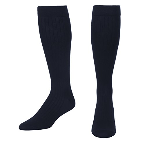 Microfiber and Cotton Compression Socks for Men with - Dress Sock Look and Feel - Graduated Support Socks 15-20 mmHg - 1 Pair - Made in USA - Absolute Support - SKU: A1013 (Navy, Large)