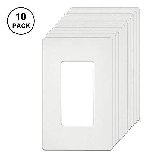 Light Switch Cover Wall Decor - [10 Pack] BESTTEN 1-Gang Screwless Wall Plate, USWP4 White Series, Slightly Larger Size Outlet Cover for Light Switch, Dimmer, USB, GFCI, Decor Receptacle, Residential and Commercial Grade, UL Listed