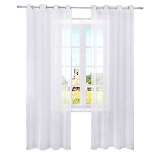 Selectex Linen Look Semi-Sheer Curtains - Grommet Voile Curtains for Living and Bedroom, Set of 2 Curtain Panels (54 x 84 Inch, White) (Shears Curtain)