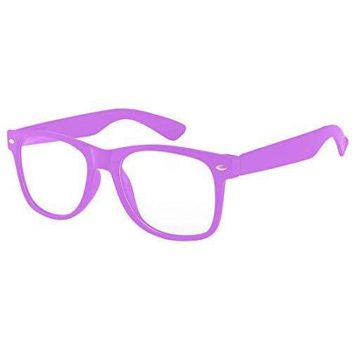 Clear Lens Classic Vintage Sunglasses Retro 80's Purple Frame for Women