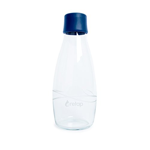 Retap Eco-Friendly Refillable BPA Free Borosilicate Glass Bottle and Water Infusion - Dark Blue – 17-Ounce by ReTap