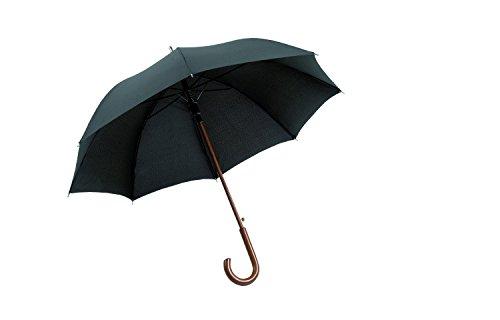 Hochwertiger Regenschirm aus Holz / Stockschirm, Automatik in schwarz (ST1027)