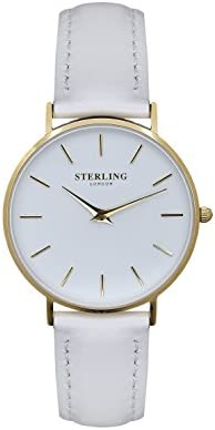 White and Gold Ladies Knightsbridge Watch – by STERLING OF LONDON | Gold ladies watch | Minimalist British design White vegan leather watch band | Large dial with subtle gold details