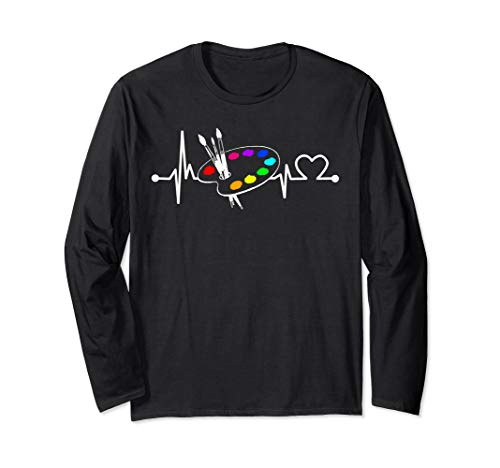 Paint Brush With Palette Heartbeat Funny Artist/Painter/Art  Long Sleeve T-Shirt