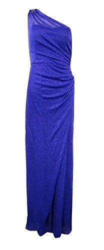 Glittered Ball - Onyx Nite Women One-Shoulder Draped Glittered Ball Gown