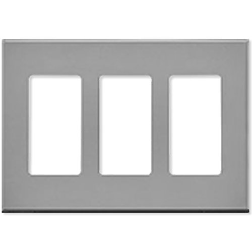 Leviton Decora Plus Screwless Snap-On Wallplate, 3-Gang, Gray (80311-GY) - Decora Electronic