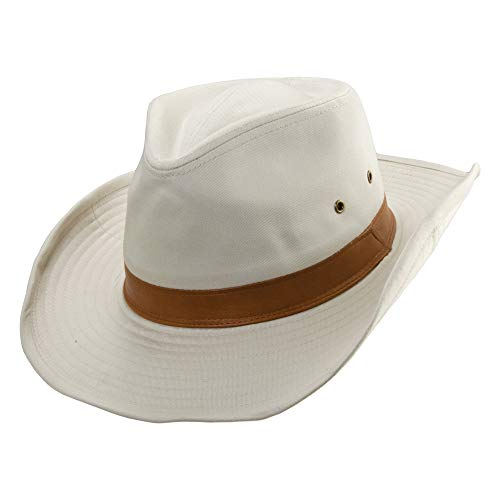 Dorfman Pacific Co. Men's 1 Piece Garment Washed Twill Outback Hat with Leather Trim, Putty, ()