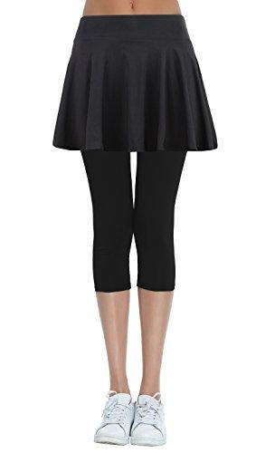 HonourSex Women's Running Skorts Sports Tennis Golf Skirt with Capri Leggings for Workout Jogging Biker L Black -