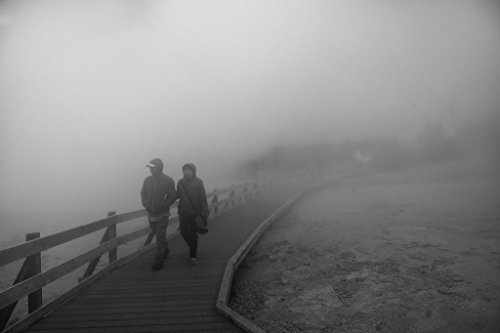 Paint Pot Yellowstone National Park - 8 x 12 Black White Photo Visitors Stroll Through The Cool Fog After a Visit to The Fountain Paint Pot Section Yellowstone National Park, in The Northwest Corner The wes 2015 Highsmith 58a