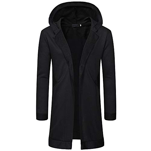 Alimao 2019 New Hooded Coat Cardigan Sweaters For Men Solid Trench Jacket Outwear Blouse (Large, Black - 6)