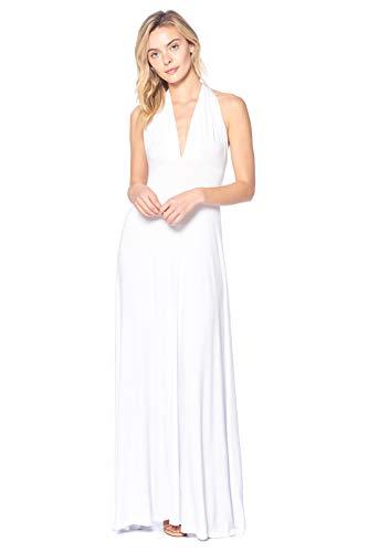 12 Ami Solid Convertible Multi Way Long T-Shirt Maxi Dress White Medium - Goddess Value T-shirt