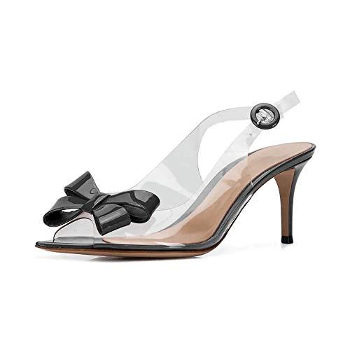 Women Pointed Open Toe Plexi Bow Slingbacks Transparent 2.6
