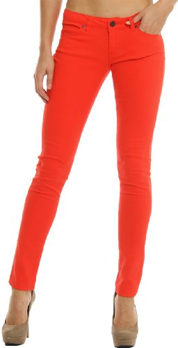 Hey Poppy - Hey Collection Juniors Brushed Stretch Twill Skinny Jeans Large Poppy Red