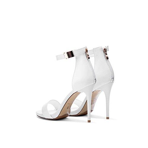 Donna Elegante Cinturino Damigella Donore Tacchi Alti Sandali Sexy Da Sposa Partito Pompe Donna Classica Scarpe A Punta Scarpe Bianche