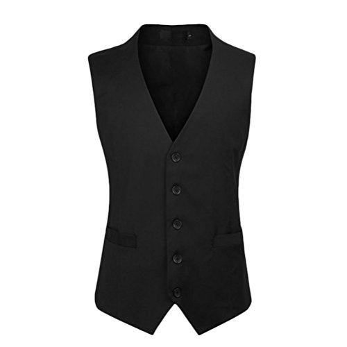 Mens Quality High Button Zhuhaitf Business respirable V Breasted neck Black Jacket Vest Single Suit Down 5wZxXaBX