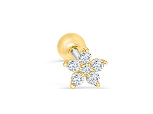 ONDAISY 14k Gold Plated Simulated Diamond Cz Flower Star Constellation Snowflake Ear Barbell Ball Stud Earring Piercing
