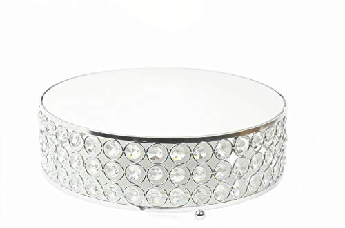 "Round Mirror Acrylic Crystal Gem - Top Cake Stand Risers Wedding Quinceanera Baby Shower Dessert Tray 12"" - Silver"
