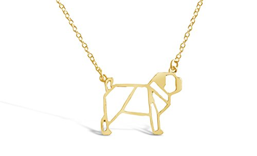 Gold Pug Dog Charm (Rosa Vila Pug Dog Necklace - Pug Origami Inspired Puppy Necklace (Gold Tone))