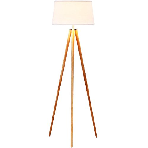 Brightech Emma LED Tripod Floor Lamp– Modern Design Wood Mid Century Style Lighting for Contemporary Living or Family Rooms- Ambient Light Tall Standing Easel Survey Lamp for Bedroom, Office White - Amber Rustic Floor Lamp