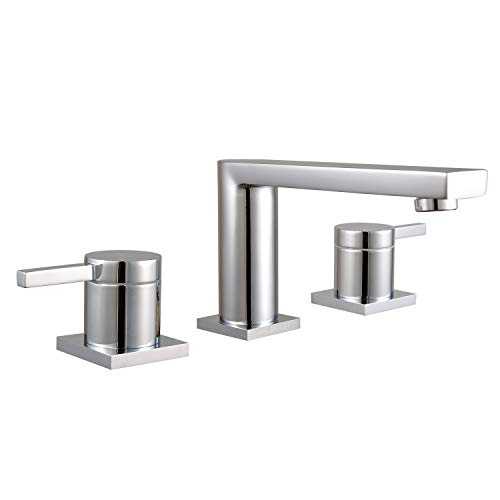 MR. FAUCET 3 Hole Basin Deck Mount Two-Handle Widespread Bathroom Sink/Bathtub Faucet, Chrome