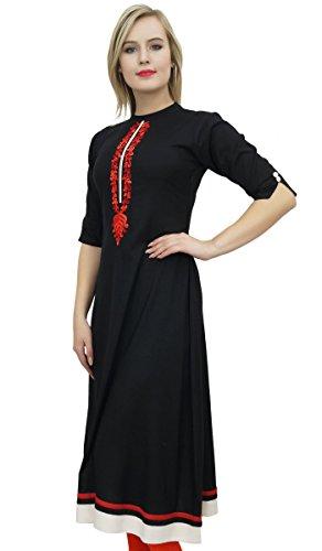 Etnica Rayon Vestito Kurti Bimba Kurta Una Tunica Nero Donne Emboidered Linea 5cUwqYwB