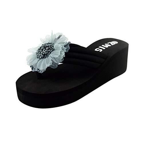 Alto Azul Bohemia Sandalias Flores Caseros Claro Damas Zapatillas Riou Tacón Toe Mujeres Moda Chanclas Techo Zapatos Cuñas Bajos Verano Playa De Bajo wR6IBqR