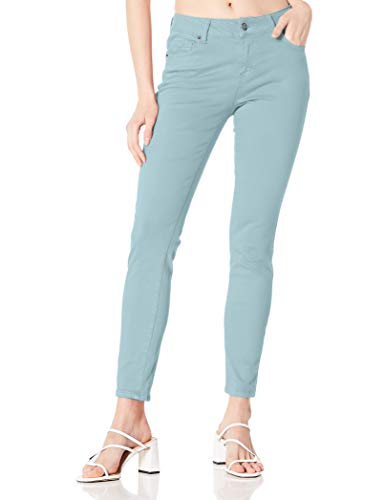 DANNE MORA Women's Classic High Waist Stretch Solid Color Comfy Twill Skinny Pant - Blue