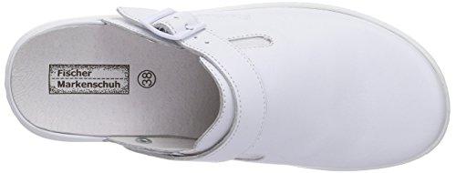 Damen Fischer Weiß Blanco Piel Zuecos Weiß Pantolette 111 Mujer De dww1Fq