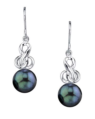 THE PEARL SOURCE 7.5-8mm Genuine Black Japanese Akoya Saltwater Cultured Pearl Adrian Earrings for Women
