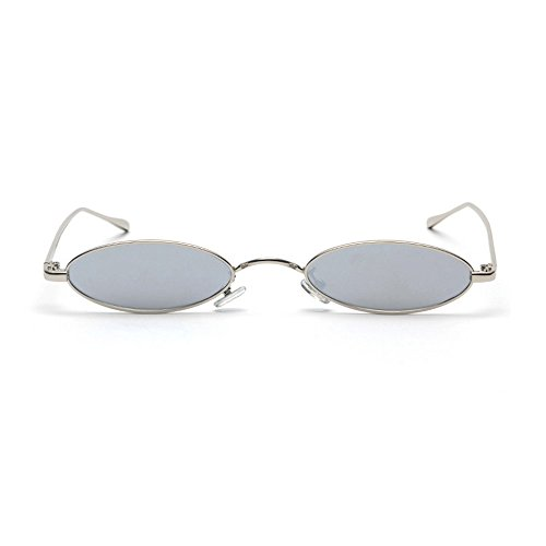 MINCL/Fashion Small Oval Metal Frame Chic Clear Candy Color Lens Sunglasses - Metal Oval