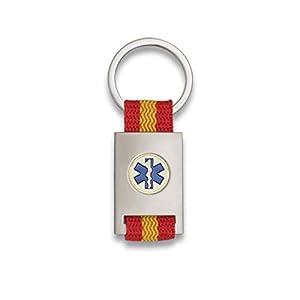 Tiendas LGP Albainox- Llavero Bandera DE ESPAÑA y Emblema Asistencias Sanitarias, Plateado 14