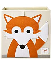 3 Sprouts Cube Storage Box - Organizer Container for Kids & Toddlers, Fox